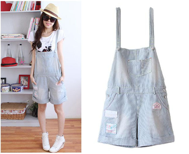 2015 Summer Denim Rompers Womens Jumpsuit Shorts women Bib Denim Ripped Jeans Plus Size romper Jeans Overalls For Women shorts