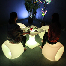 PE LED modern sofa furniture / night club plastic sofa set/ glow led sofa chair