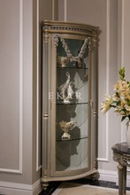 Luxury Home Furniture Livingroom Glass Cabinet Single Door Handcarved Decorative Cabinet Solid Wood Corner Wine Cabinet