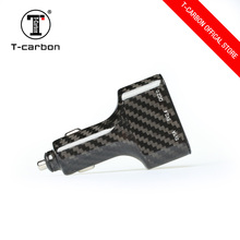 T-carbon three USB interface carbon fiber holder car battery charger