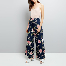New Autumn Black Floral Print Frill Hem Cropped Alibaba Lady Trousers