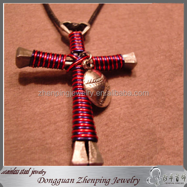 Cross Handmade Pendant with colored wire suround baseball hat charm necklace