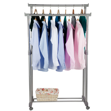 XM_109 Adjustable Stainless Steel Double-arm Home Balcony Cloth Drying Rack Stand Dryer Hanger Garment Racks