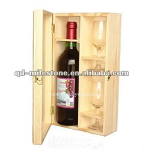 Wooden Wine Packing Boxes with Single Bottle and Two Glasses