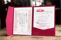 Custom letterpress wedding invitation card