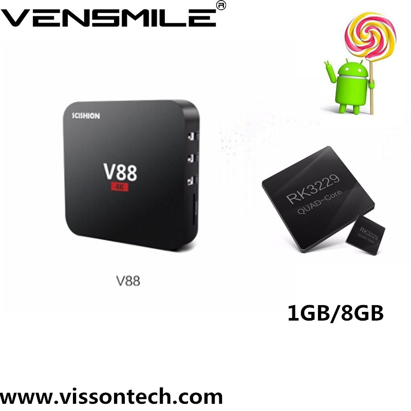 Vensmile rk3229 V88 Quad Core Android 5.1 Smart TV Box Fully Loaded IPTV Media Player 1G/8G install free play store app