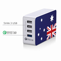SAA Qualcomm certificated 3 usb port 5V4A + QC3.0 fast usb charger quick wall charger travel usb mobile phone charger