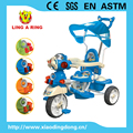 WHOLESALE CHILDREN TRICYCLE WITH PUSHBAR AND CANOPY BABY TRICYCLE WITH FLASHING AND MUSCIAL HEAD