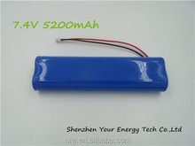 Factory export Li-ion18650 Rechargeable Battery Pack 7.4v 5200mAh
