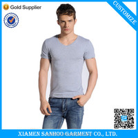 Best Price Cotton Plain V Neck T Shirts Men Blank Tshirt Slim Fit Cheap From China Manufacturer
