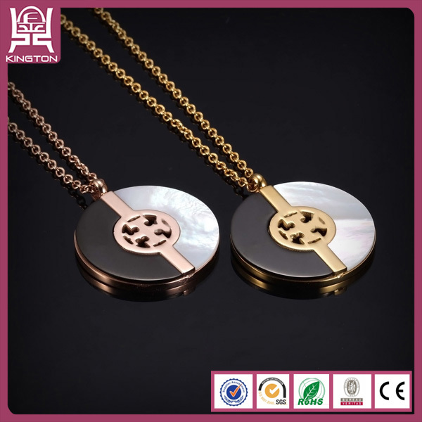 fashionable yin yang 316L stainless steel couple necklace