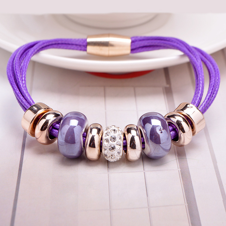 Fashion Jewelry Custom Ceramic Bead Leather Bracelets With Magnetic Clasp