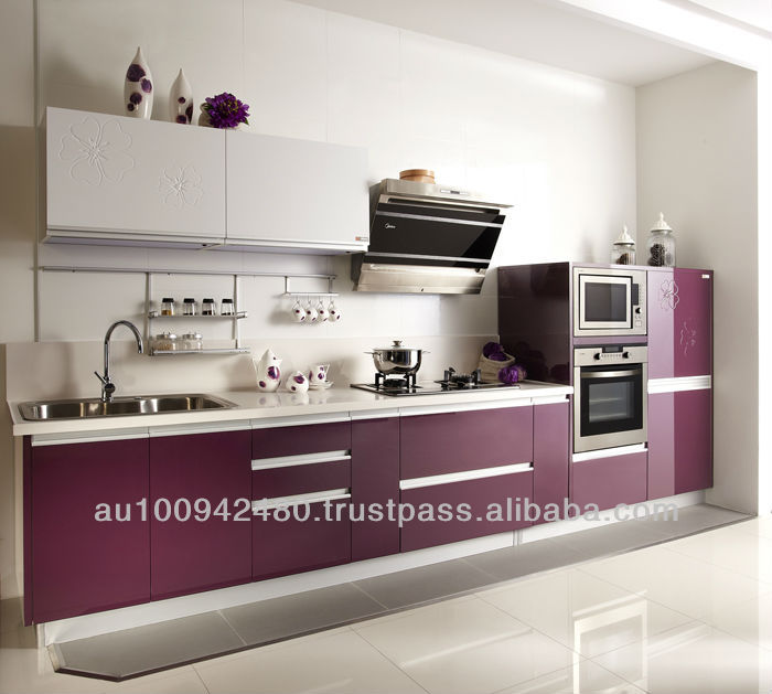 2014 new arrival 2 pac / piano / metalic finish painting/ laminate / MDF/ Melamine Kitchen Cabinet