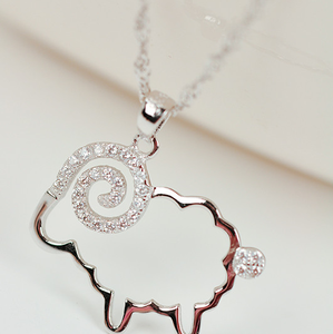 S925 small silver necklace pendant in Sterling Silver with sheep sheep micro fashion jewelry