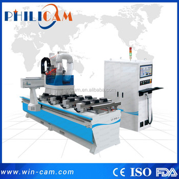 High technology cnc vertical sawing drilling / single arm atc side drilling cnc router machine