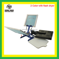 Manual 2 Color 1 Station Desktop screen printing machine with flash dryer