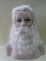 High quality white yak hair santa claus lace wig set for cosplay