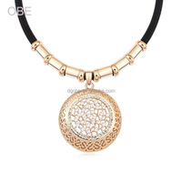 OBE 2016 wholesale factory price plain gold crystal statement necklace jewelries