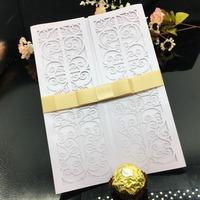 Graceful White Hollow Garden Fence with Lance Laser Cut Pocket Envelope Wholesale Wedding Invitation Card
