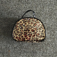 PVC leopard print small cosmetic bag with short handle