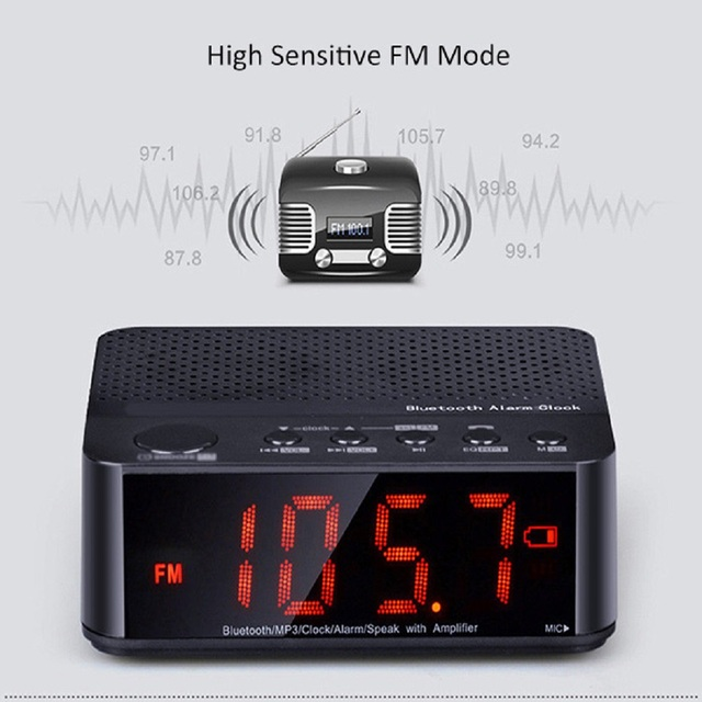 Portable Bluetooth Wireless Speaker MX-017 Wireless Mini FM Radio Clock Alarm Bluetooth Speaker with LED Time Display TF Reader