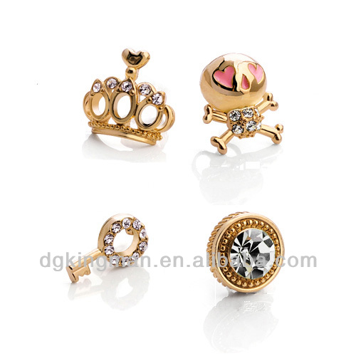 Kingman 2013 Mini Four Parts Gold Plated Lovely Hollow Stud Earrings