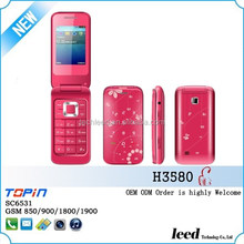 china supplier dropshipping GSM850/900/1800/1900 dual sim card sc6531 colorful flip china cell phone H3580