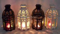 Wholesale New Design and High Quality Mediterranean Style Metal and Glass Castle Lanterns