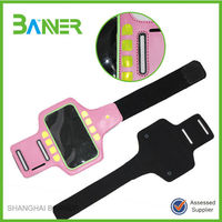 Outdoor exercise running LED mobile bag PVC leather phone arm band