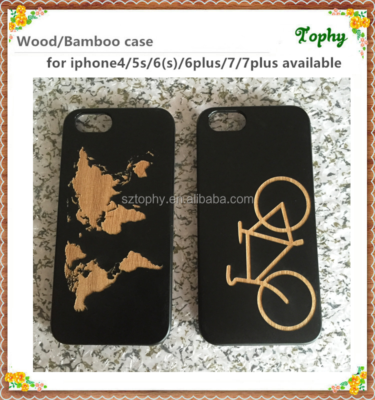 Black bamboo wood phone case for iphone 6/Custom logo cell phone accessory for iphone 7