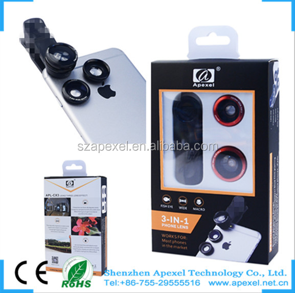 Universal Clips 3 in 1 photographic lenses 180 degree fisheye +0.65xWide Angle+Macro lens
