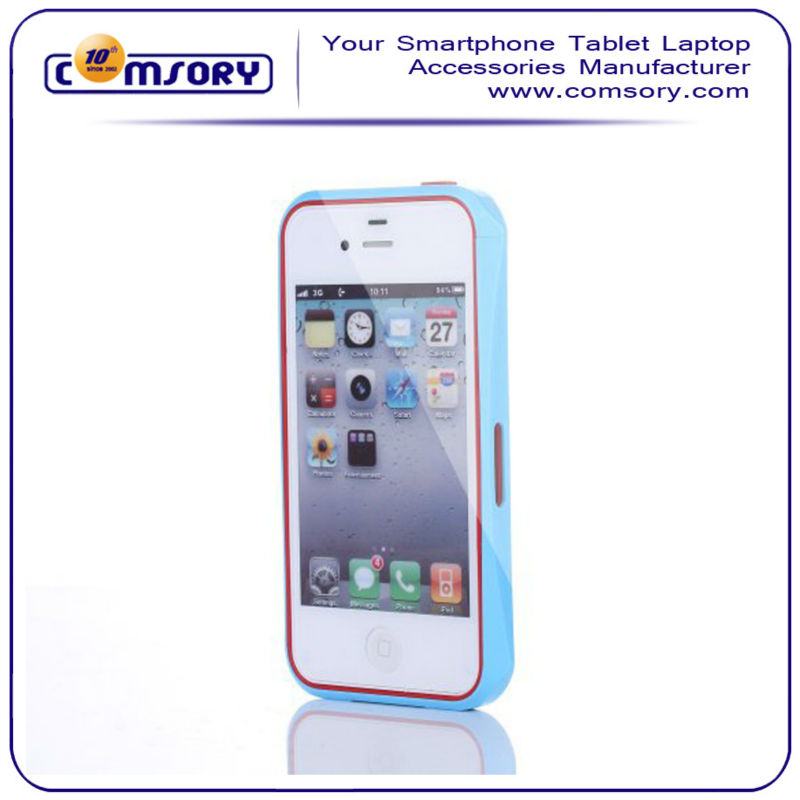 For iPhone4 4S PC+TPU hybird frame colorful bumper