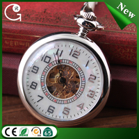 Free shipping no cover morden silver color mechanical pearl smooth pocket watch