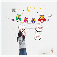 Cartoon Cute Four Owl DIY Wall Sticker Wallpaper Stickers Art Decor Mural Kid's Child Room Decal Home Decoration