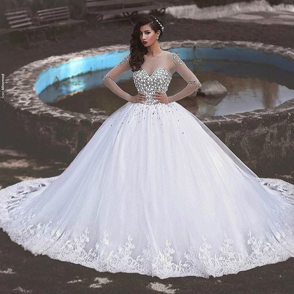 On321 Gorgeous Dreaming Lace Appliques Ball Gown Wedding Dress ...