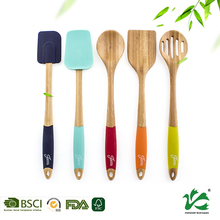 Bamboo wooden cheap custom utensil with silicone