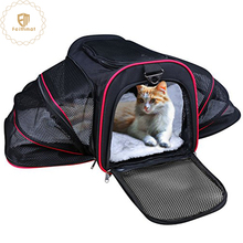 factory wholesale black expandable carrying soft dog cage pet carrier bag