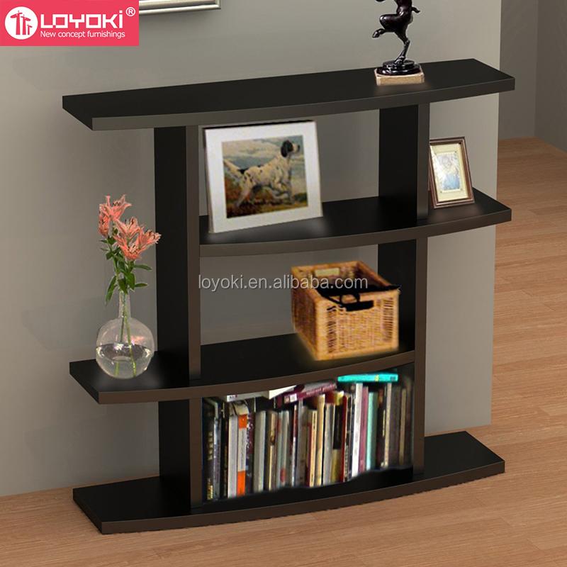 New Design Modern 4 Tier Wave Bookshelf Mdf Wood Hall