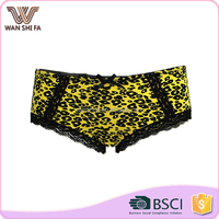 Modern comfortable brief nylon black sexy pattern yellow young girl panty