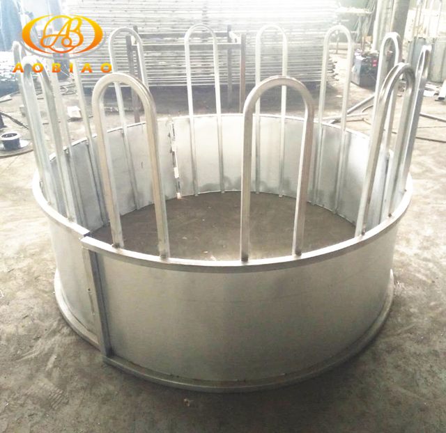 Round bale hot dip galvanized cattle hay feeder with loop top