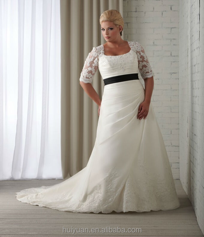Long Sleeve Scoop Neck Ball Gown Plus Size Grecian Wedding