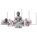 Buddha Meditation Canvas Painting/Zen Stone Canvas Printing ArtWorks/White Butterfly Orchid Printed on Canvas /Whosale 5 Panels
