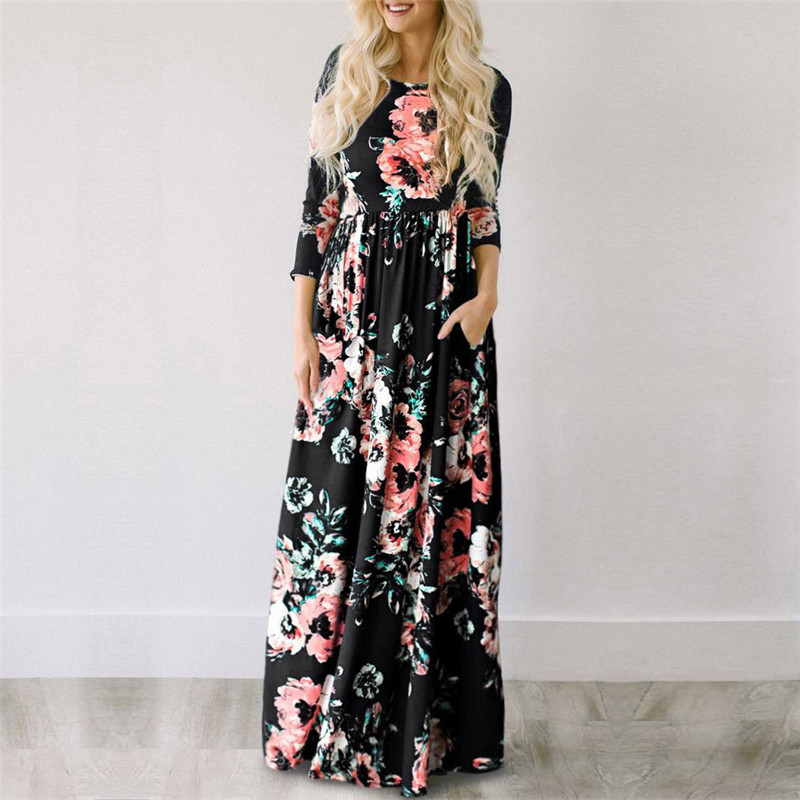 19 Summer Long Dress Floral Print Boho Beach Dress Tunic Maxi Dress Women Evening Party Dress Sundress Vestidos de festa XXXL 14