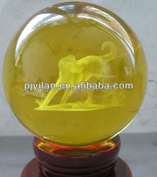 elegant k9 yellow Crystal glass 3d laser engraved ball terrarium for Decoration globle yellow glass ball