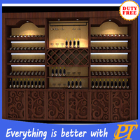 Red wine display cabinets and liquor rack stand for wine store