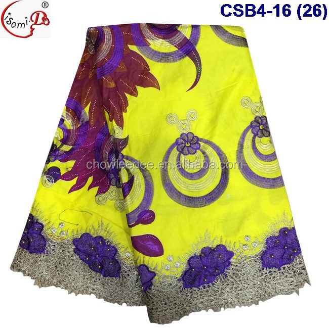 CSB4-16 (26) Newest design african wax lace fabric with beads ladies party wax lace