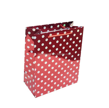 Bohemia dot holographic film coated paper bag wih PP handle 6color mixed Hot on sale