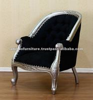 Indonesian Furniture - Silver Louis Tube Chair in Black