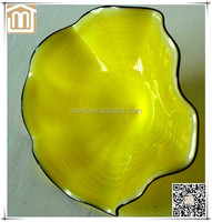 Modern Hand made decorative wall hanging art blown large yellow glass flowers