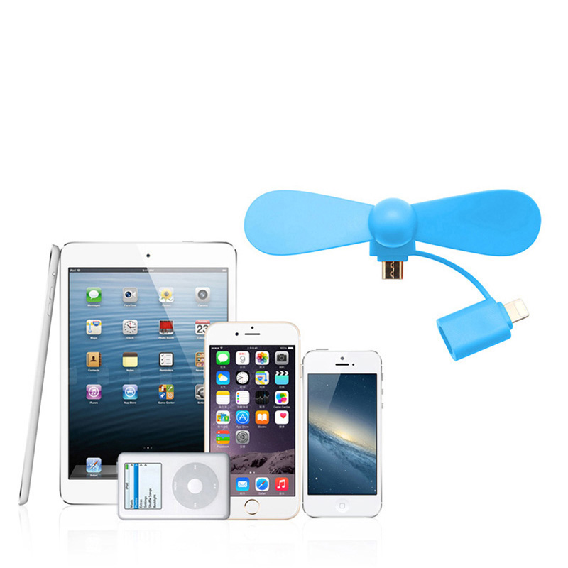 <strong>2</strong> in <strong>1</strong> Portable USB Fan for iPhone 8 Mini Mobile Fan for Smartphone Used for Air Cooling